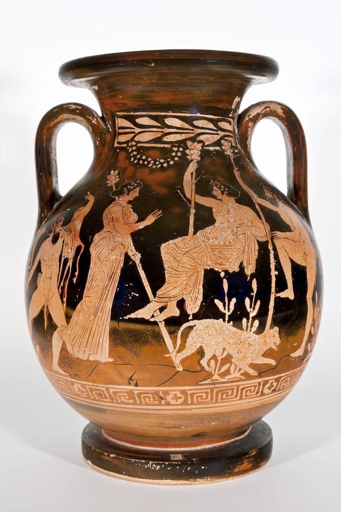 Vaso a due anse (pelike) in ceramica attica a figure rosse con Scena dionisiaca, databile al 450-400 a.C. ca. Maniera del Pittore del Dinos